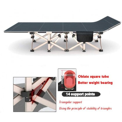 Folding Single Bed Outdoor Indoor Office Camping Lunch Relax Foldable Portable Oxford Canvas Accompanying Hospital