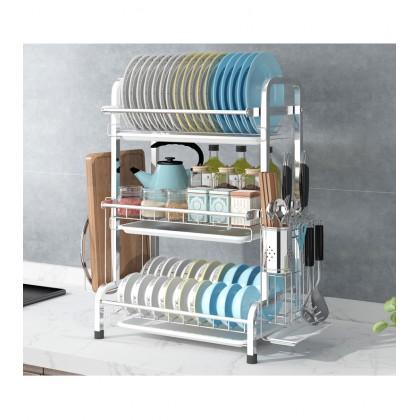 Professional Stainless Steel 2/3 Layers Kitchen Dish Drying Rack Kitchen Drainer Dryer Tray (Rak Pinggan Mangkuk)